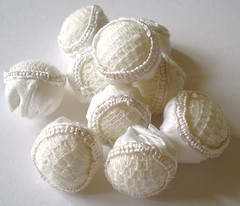 puffs (contemporary embroidery) Tags: beads silk puffs vintagelace cutwork handembroidery contemporaryembroidery karenruane