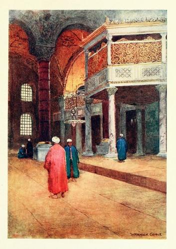 028-Interior de Santa Sofia-La galeria de los sultanes- Constantinople painted by Warwick Goble (1906)