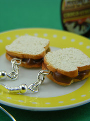 Nutella Sandwich Earrings (Shay Aaron) Tags: food breakfast bread spread miniature handmade chocolate paste aaron fake mini jewelry polymerclay fimo tiny faux shay geekery jewel petit              shayaaron wearablefood
