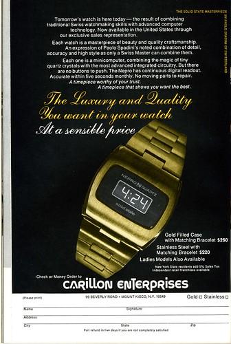 Carillon luxury digital watch 1975