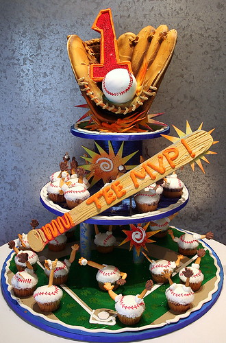 Baseball Cupcake Tower