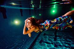 (SARA LEE) Tags: blue light pool girl night university underwater dress flash hannah refraction hawaiian chapman forever21 sarahlee ewamarine legothenego hannaht hannahthomas vivantvie