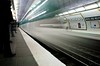 9 (Grobbs) Tags: motion blur paris station train underground nikon metro platform rail tunnel headlights seethrough publictransport ratp métroparisien tamron1750 michelangemolitor d300s