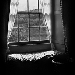 Still Missing Summer II (*K*aren) Tags: summer blackandwhite bw film window monochrome grain sunny cushion ilford drizzle windowseat windowpanes bwfilm karran fujicastx1n sunnyshower 52monochrome stillmissingsummer