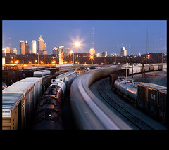 Busy Blue Hour (Nrbelex) Tags: longexposure atlanta macro skyline canon georgia 2470mml twilight cityscape atl traintracks trains explore bluehour atlantaskyline dslr atlantageorgia csx 2470mm 2470mmf28 xti ef2470mm 400d tilfordyard nrbelex