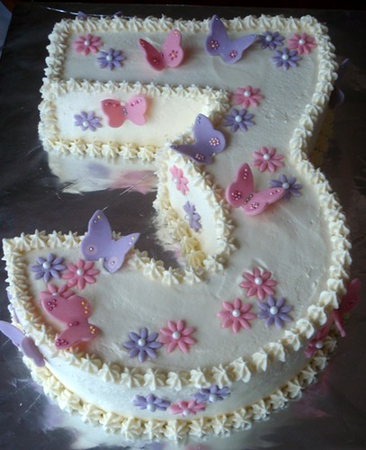 Number 3 Cake For A Girl Who Loves Pink And Purple