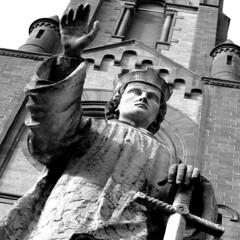 friend or foe? (Bim Bom) Tags: bw sculpture church germany square sword priest hardheim unterfrankenundbauland
