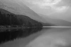 Mist or Missed (Brian Travelling) Tags: mist missed fog weather lochtreig loch water scotland scenery scenic scottish scots waterscape westhighlands art blackandwhite mono mountain clouds coloursofscotland reflection reflections reflecting reflect gradiant grey day pentaxkr pentax pentaxdal peaceful peace landscape sky