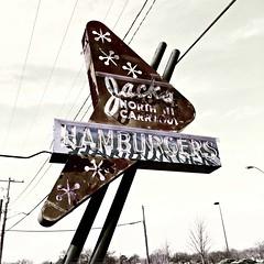 Hipsta Hamburgers (pam's pics-) Tags: ks kansas midwest us usa america hipsta hipstamatic iphone6s appleiphone wichitakansas cafe drivein outofbusiness hamburger burger jacksnorthhicarryout closed mobilephonephotography pamspics pammorris restaurant