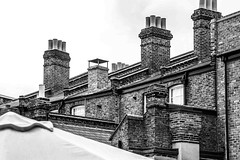 seen from the courtyard (ignacy50.pl) Tags: london architecture building blackandwhite city cityscape chimneys bricks ignacy50 outdoor yard windows
