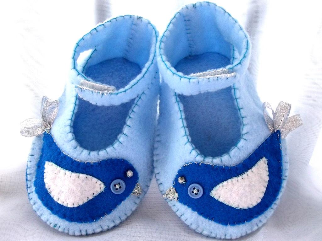 Blue felt Penelope bird baby booties