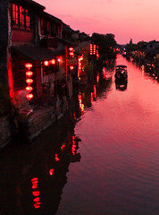 Near (tianxiaozhang) Tags: china sunset ferry river boat lanterns xitang zhejiang 17mm ef1740l eos450d