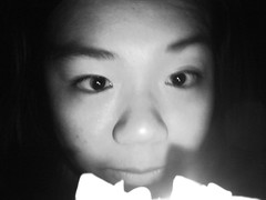 Glow (slightly confused) Tags: portrait blackandwhite bw woman laura girl face digital dark blurry eyes glow candle candlelit