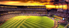 Safeco Field Panorama (Philerooski) Tags: seattle eve sunset sky panorama terrain orange game green sports field clouds canon ball square fun eos rebel evening washington amazing athletics twilight play sundown exercise baseball action dusk pano awesome cleveland crowd apocalypse july ballgame nebula american mariners safeco indians vault safecofield suzuki ichiro heavens incredible clevelandindians ozone pioneer base hdr highdynamicrange marvelous league scoreboard stands brume grandstand billow nightfall seattlemariners shocking fascinating xsi enclosure mlb thunderhead pastime majorleaguebaseball 3xp photomatix tonemapped 450d philerooski