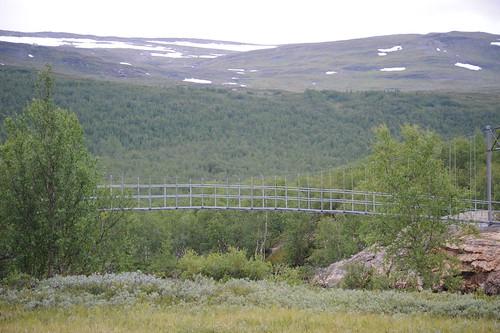 Abiskojaure前の吊橋