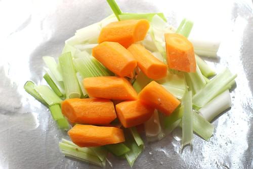 Leeks, carrots.