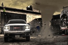 GMC SIERRA HD (Talal Al-Mtn) Tags: auto blue light white black art car yellow photoshop truck work canon rebel scary sand photographer shot 4x4 duty sierra full human automatic motor hd kuwait twister strom gmc v8 2007 xsi q8 havey kwt one8 450d inkuwait talalalmtn  bytalalalmtn gmcsierrahd