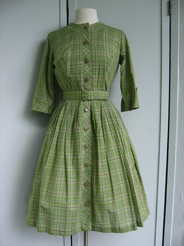 green plaid Ann Taylor dress