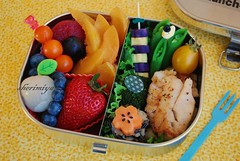 Rock Cod Bento (sherimiya ) Tags: school fish fruits rock lunch avocado kid healthy strawberry purple rice sweet tomatoes broccoli potato bento cod blueberries lychee obento peapods sherimiya mangoplum