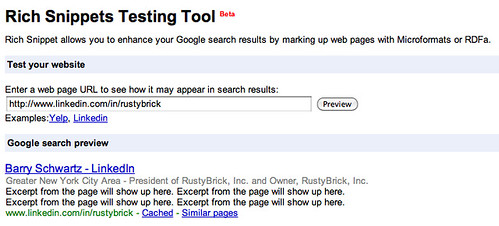 Webmaster Tools - Rich Snippets Testing Tool