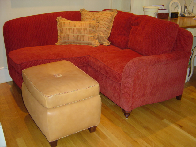 Corner loveseat/chaise with ottoman Reupholstered and new custom sofas
