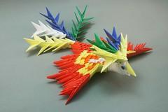 Fênix em origami 3D