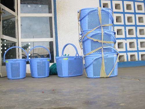 baskets of grey parrots at Kindu airport