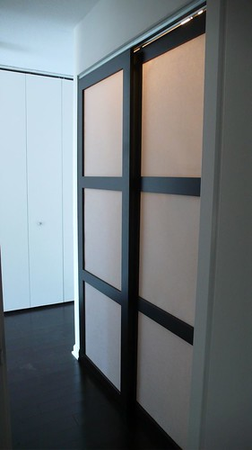 Custom Made Sliding Shoji Closet Doors with Synskin Panels