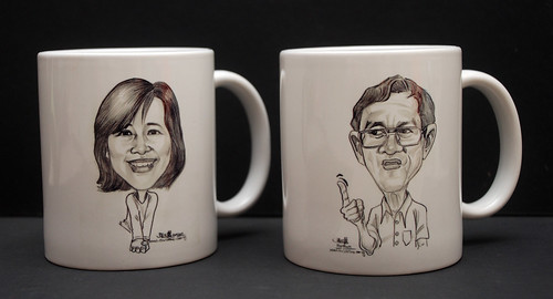 Caricature in pencil on mug