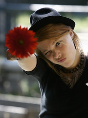 enough! (wunderskatz) Tags: red portrait woman black flower cute girl beautiful beauty face look hat eyes holding funny hand faces sweet saying cutie lips redhead teen blonde finish end grimace sweetie freckles lovely teeny mop making enough finishing mopping wunderskatz grimaceing