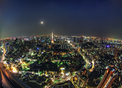 Moonrise over Tokyo (/\ltus) Tags: japan tokyo pentax moonrise tokyotower moribuilding hdr k7 2xp stuckincustoms japanhdr