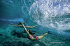 An under water view of a two young women swimming under a wave, that's roling across the reef at Off The Wall, on the north shore of Oahu, Hawaii. (Sean Davey Photography) Tags: seawaveenergyseaswellgreenpoweroceanpoweroceanenergyseawavewavesenergyoceanwavepicturesoceanswellpictureswaveoceanwavecurlcurlingwavepowerenergyalternativepoweralternativeenergygreenpowergreen photographyseascapeswellwhitewashglowshimmerglittershinydreamyunderwatertransparentclarityluciditycrystalcleartropicalseandaveyseandaveyphotographyfinephotographyartphotographyfinearttwogirlstwowomenb