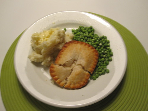 mashed potatoes, peas, chicken pot pie