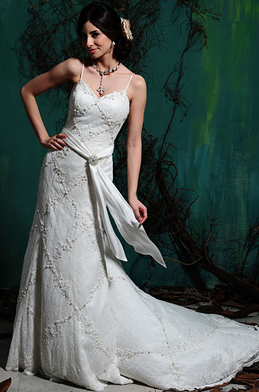 Fusion beads, imitation diamonds, and lace in a wedding dress.