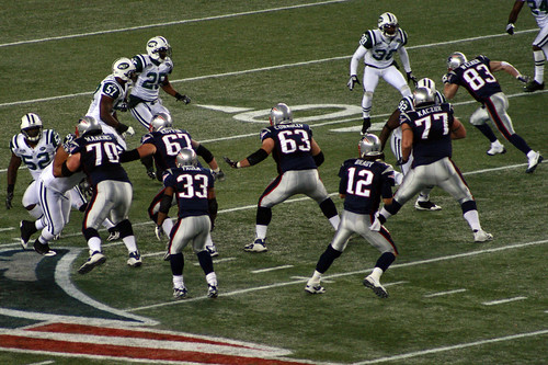 Welker breaks from the line of scrimmage (far right)