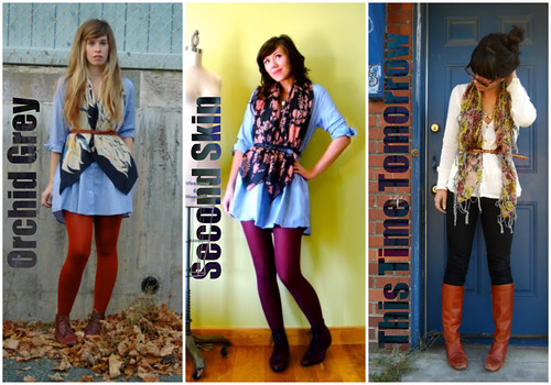 style chain: scarf, belt, and tights