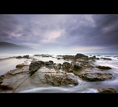 Greetings From Great Ocean. (blindmelonme) Tags: ocean longexposure sunset sea sky seascape beach water clouds bay rocks seascapes australia melbourne greatoceanrd landscapephotography watermovement australianphotographer landscapesandwater australianseascapes
