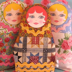 Russian Matryoshka Fabric Art Doll (Zouzou Design) Tags: uk woman cute girl yellow pretty plush artdoll redhair babushka matryoshka russiannestingdoll fabricdoll zouzoudesign