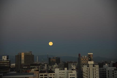 初日の出直前の月