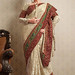 Off White Synthetic Georgette Saree