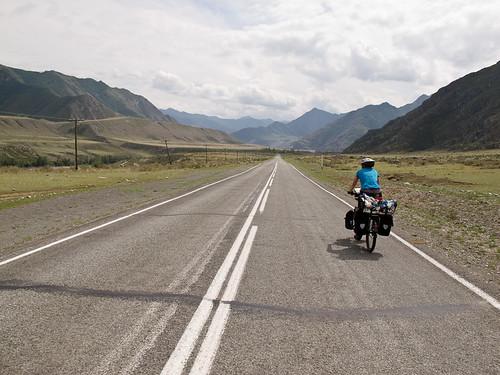 Emma cycling near Iodro