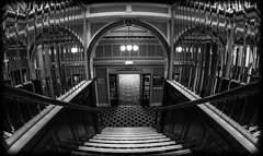 Steps down. (CWhatPhotos) Tags: pictures camera white fish black west eye monochrome stairs digital pen that lens lite four photography mono hotel focus stair foto with view image artistic pics north group wide steps picture pic olympus images stairwell lancashire fisheye have photographs photograph fotos micro hotels manual 35 olympuspen which blackpool fit contain 43 metropole britannia thirds lancs 2014 f35 stairwells 75mm mft samyang esystem sanyang britanniahotels cwhatphotos epl5