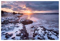 Little Cove Sunrise, Scott's Bay (Fundy Rocks) Tags: scottsbay scotsbay seascape basalt novascotia littlecove winter snow waves sunrise sunstar dramatic
