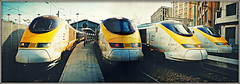 Eurostars, Gare Du Nord (Jason 87030) Tags: eurostar lines film print station 1999 august france europe trains railway stitch effecr frame border photoshop mpicmonkey light creative foursome effect arty artistic transport francais platform scan paris holiday