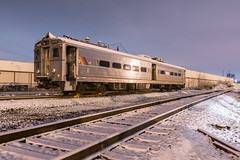 Isolated (sullivan1985) Tags: night snow southkearny kearny hudsoncounty railroad railway train njtr1307 mu multipleunit arrowiii