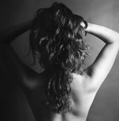 ([shannon.k]) Tags: black 120 mediumformat hair studio back curves curls scan hasselblad hasselhoff lightshadow daryn tangles scannednegatives arista100