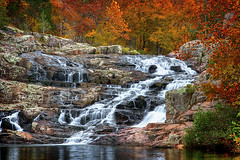 Autumn Comes to Rocky Falls (Uncle Phooey) Tags: autumn fall rural waterfall colorful scenic falls explore missouri waterfalls ozarks hdr pinkgranite rockyfalls southwestmissouri unclephooey nearwinonamissouri scenicmissouri