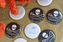 Our Sea Shepherd wedding pins.
