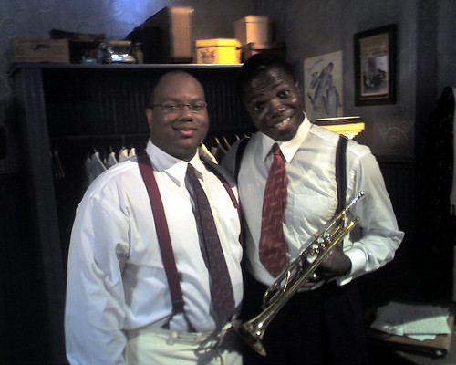 John Brown and Reno Wilson on the set of Bolden