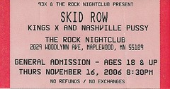 11/16/06 Skid Row/King's X/Nashville Pussy/Mardo @ Maplewood, MN (Ticket)